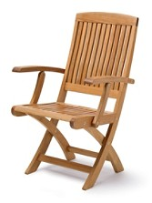 Teak Folding Arm Chairs, Set Of 2