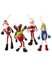 Christmas Character Ornaments, Set Of 4