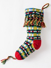 Handknit Intarsia Plaid Wool Stocking