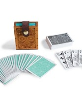 Playing Cards And Handcarved Wooden Case