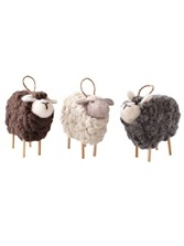 Curly Sheep Ornaments, Set Of 3