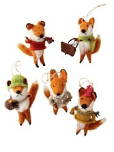 Foxy Fellows Ornaments, Set Of 5