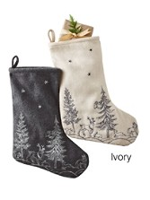 Woodland Embroidered Wool Stocking