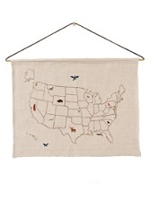 Usa Map Embroidered Art