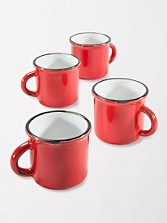Tinware Espresso Mugs, Set Of 4