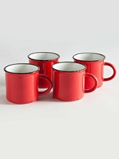Tinware Camp Mugs, Set Of 4