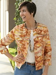 Three Quarter Sleeve Print Jacket