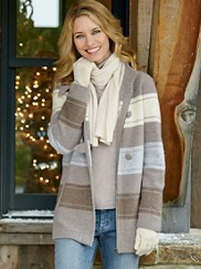 Alpine Stripe Boiled Wool Cardigan