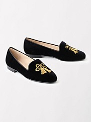 Tassel Embroidered Velvet Loafers