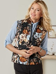 Floral Print Quilted Vest