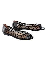 Noir Peep-toe Flats