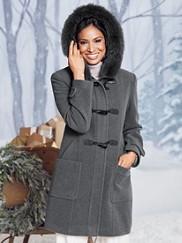 Fur-trimmed Toggle Coat