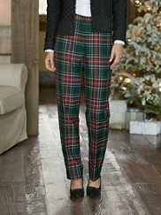 Worsted Wool Tartan Slim Pants