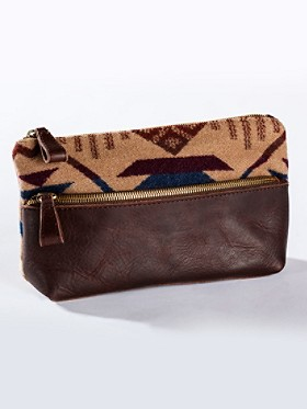 Coyote Butte/leather Zipper Clutch
