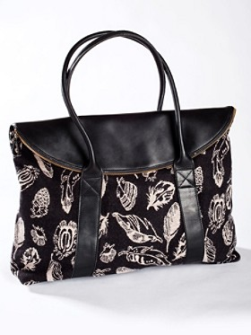 Feather Storm/leather Overnight Tote