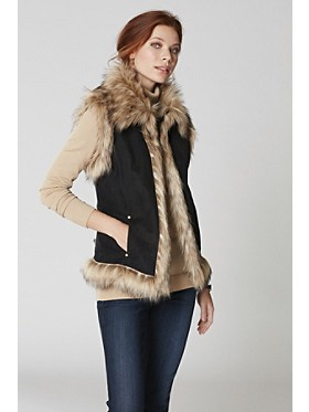 Luxe Faux Fur And Suede Vest