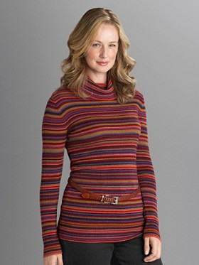 Stripe Cowl-neck Merino Sweater