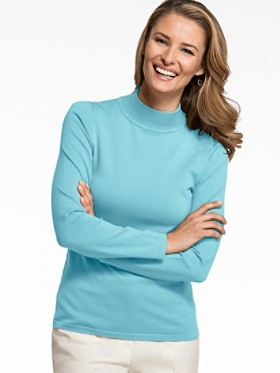Washable Silk-blend Mock Turtleneck