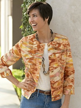 Three-quarter Sleeve Print Jacket