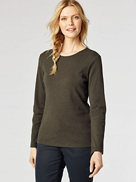 Long-sleeve Jewel-neck Cotton Tee