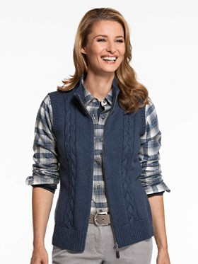 Cotton Cable Zip Vest