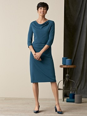 Three-quarter Sleeve Drape-neck Dress