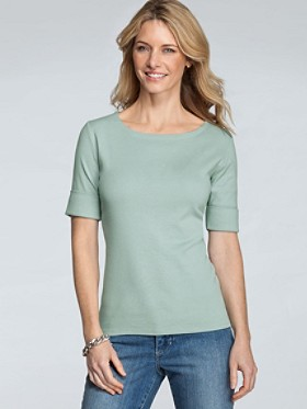Roll-sleeve Rib Tee