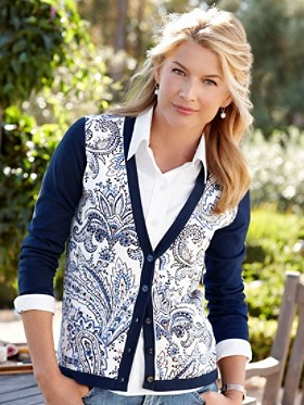 Placed Print Cardigan