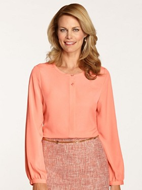Long-sleeve Jewel-neck Blouse