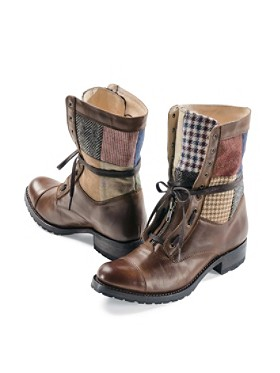 Patchwork Leather Boots
