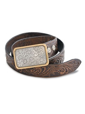 Floral Filigree Tooled Belt