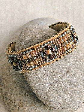 Hand Beaded Copper Cuff Bracelet
