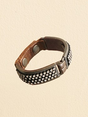 Leather And Crystal Stud Bracelet