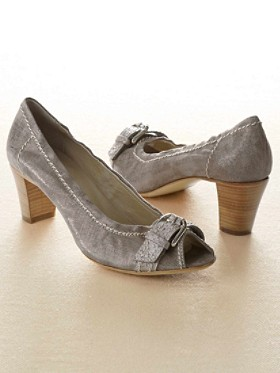 Shimmery Peep-toe Buckle Pumps