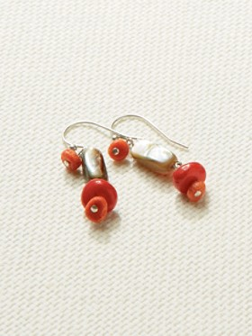 Coral And Abalone Shell Earrings