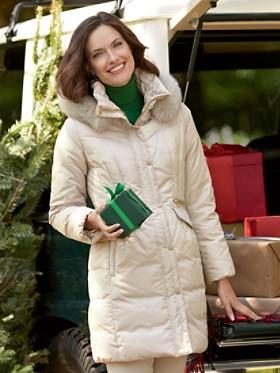 Down Coat With Fox Fur-trim Hood