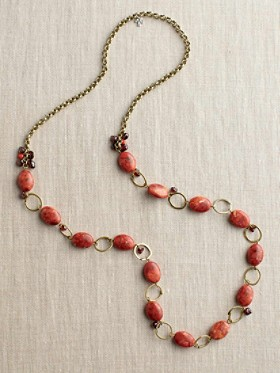 Apple Coral And Garnet Necklace