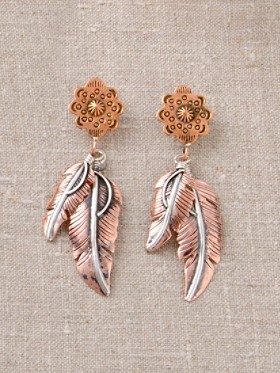 Silver And Copper Feather Earrings