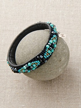 Beaded Leather Diamonds Bangle