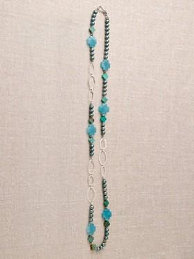 Angel Light Blue Pearl Cross Necklace