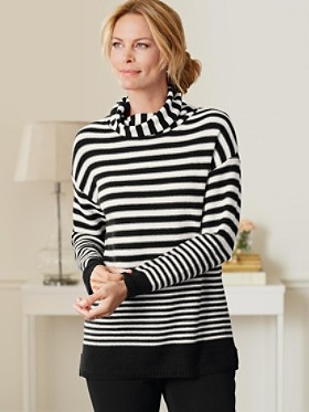 Stripe Cowlneck Sweater