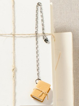 Leather Book Necklace