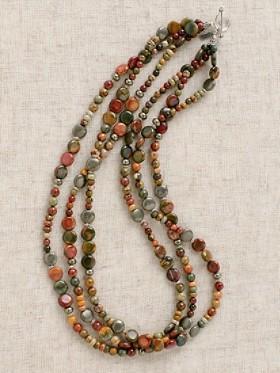Red Creek Jasper Three-strand Necklace