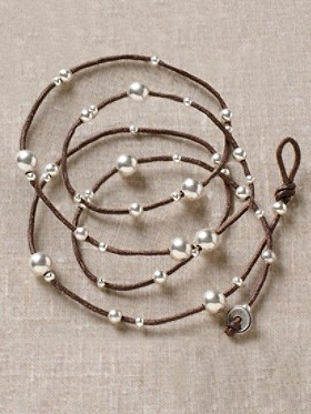Linen Necklace With Sterling Balls