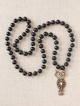 Black Onyx With Bronze Owl Necklace