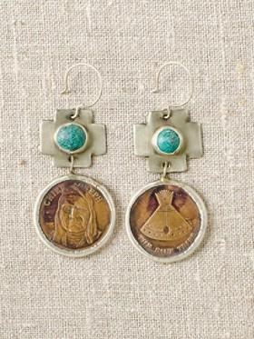Bronze Token Earrings
