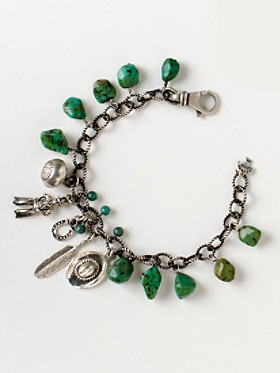 Sterling Cowboy Turquoise Charm Bracelet