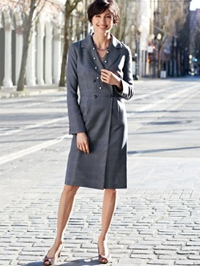 Plaid Worsted Wool Caroline Coat Dress