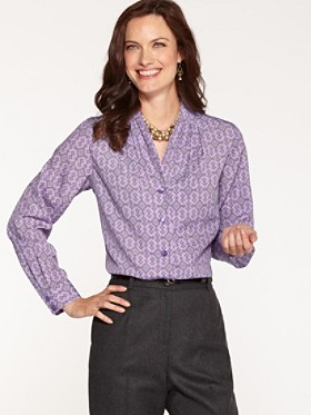 Shirred-neck Blouse