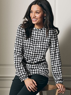 Long-sleeve Houndstooth Blouse